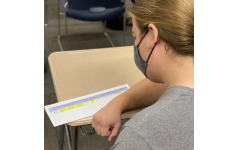 Ethan Stigler looks at the district's COVID-19 tracking form. This is the form that shows the various COVID-19 categories.