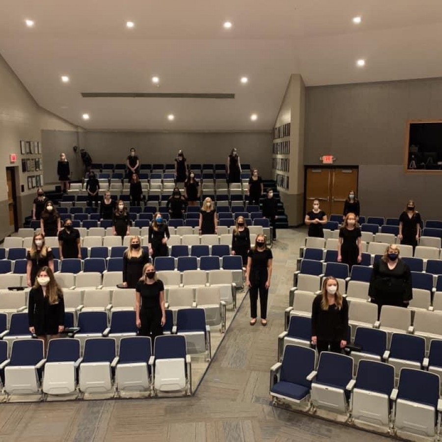 PV's Chamber Choir records for their fall concert in the theater while socially distancing and taking other precautions.