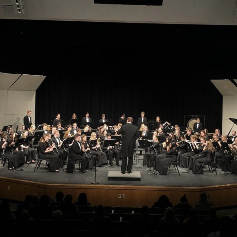 The Wind Ensemble Band performs at its Winter Concert on Feb. 10, 2019 at PVHS. Due to COVID-19, the program has had to make changes to its structure to keep hybrid students safe and online students involved.