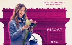 "One of the promotional posters for ""Emily in Paris,"" featuring protagonist Emily Cooper, portrayed by Lily Collins."