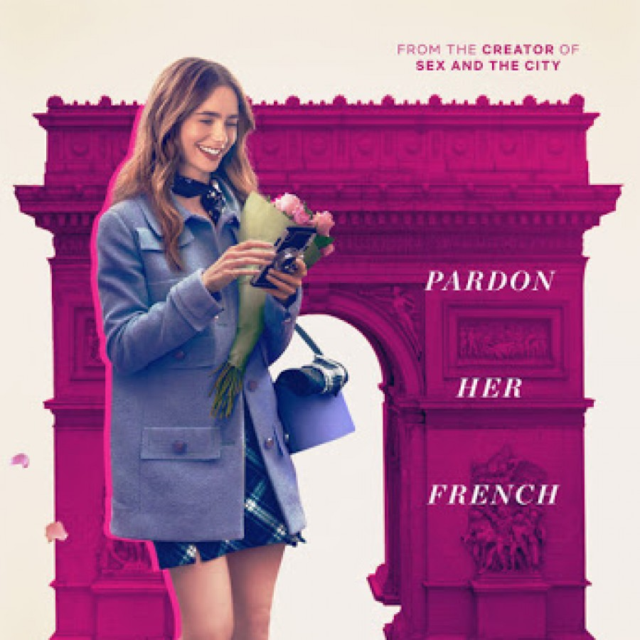 """One of the promotional posters for """"Emily in Paris,"""" featuring protagonist Emily Cooper, portrayed by Lily Collins."""