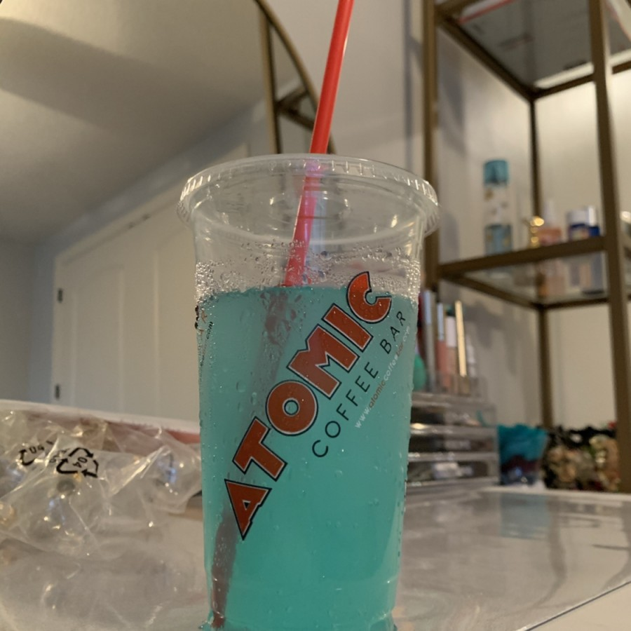 "The Atomic energy drink pictured above is ""Aquamarine:"" A sour, yet refreshing drink."
