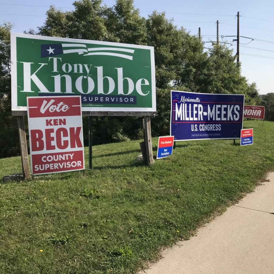 "Many corners around the Bettendorf and Davenport area has been packed with signs like these. Going from left to right there is Tony Knobbe seeking re-election for the Scott County board of supervisors along with Ken who is also seeking re-election for the board of supervisors. Mariannette Miller-Meeks who is running to represent Iowa's 2nd congressional district in the U.S House of Representatives. On either side of the Miller-Meeks sign there are two Republican slogan signs stating, ""Free Markets Not Socialism"" and ""Limited Government not Big Government."" Lastly, There is Gary Mohr who is running to represent Iowa's 94th district in the Iowa House of Representatives."