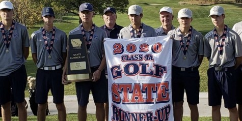 The PV Golf team accepts their trophy and placing 2nd at the state tournament