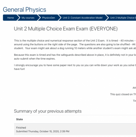 Student prepares to take a Physics exam online