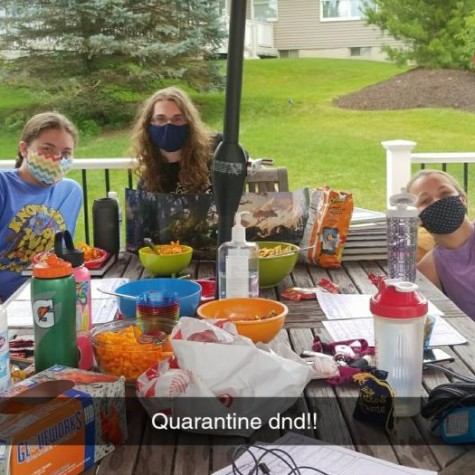 Pleasant Valley students mask up and go outside to play Dungeons and Dragons during quarantine.
