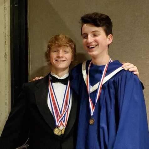 Sam McGrath poses alongside friend Ben Curran at the All-State band festival at Iowa State on Nov. 24, 2019.