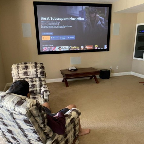 Ani Pradeep sitting down to watch Borat 2 on Oct 24.