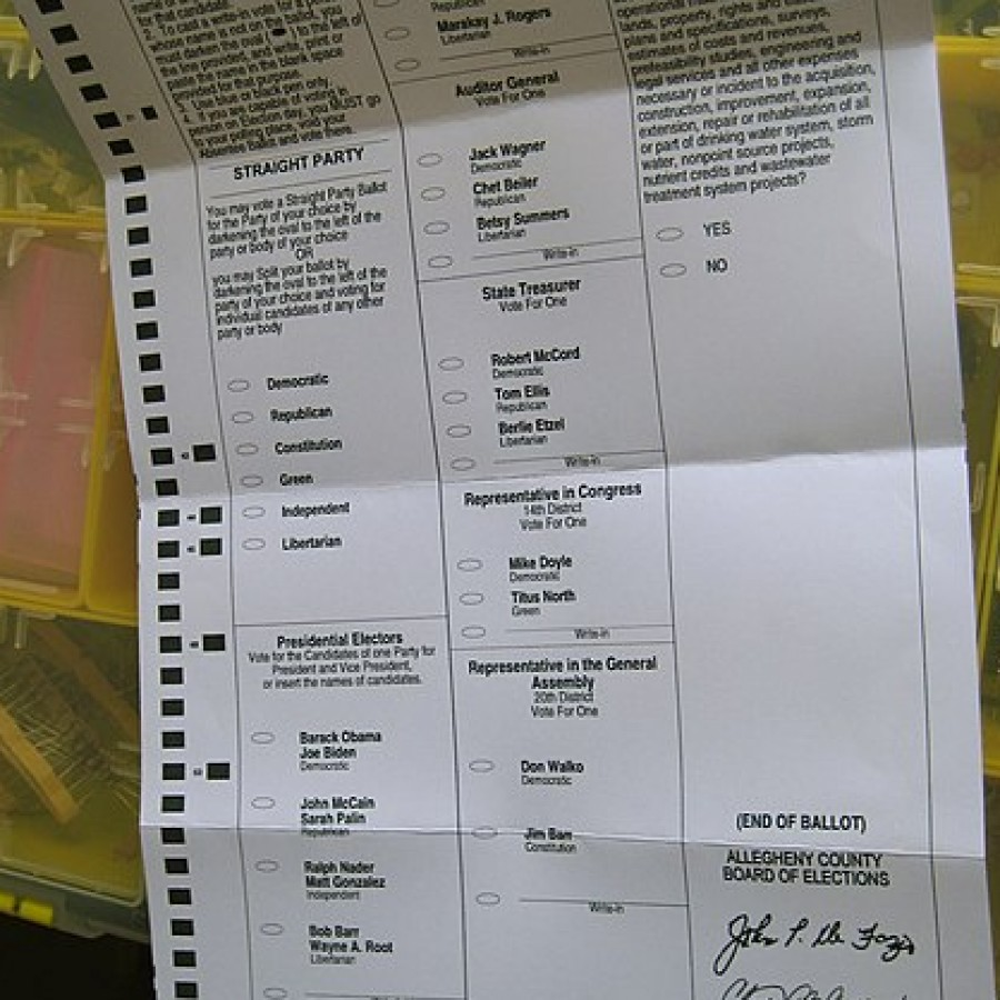 Absentee ballot from the 2008 election between Barack Obama and John McCain
