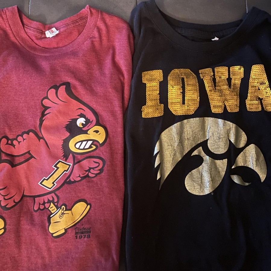 Two t-shirts and one life decision. Will Iowans choose the path of the Cyclone or follow the trail of the Hawkeye.