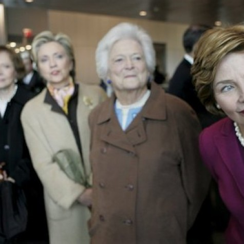 Four former first ladies--from left to right, Rosalynn Carter, Hillary Clinton, Barbara Bush, and Laura Bush--stood together during the opening of the Clinton Presidential Center in 2004.