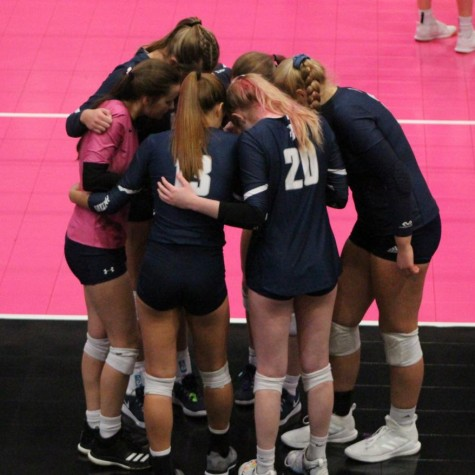 Players from the PV volleyball team huddle up during their semifinal game against Ankeny on Nov. 4, 2020, at the Alliant Energy PowerHouse in Cedar Rapids, IA.