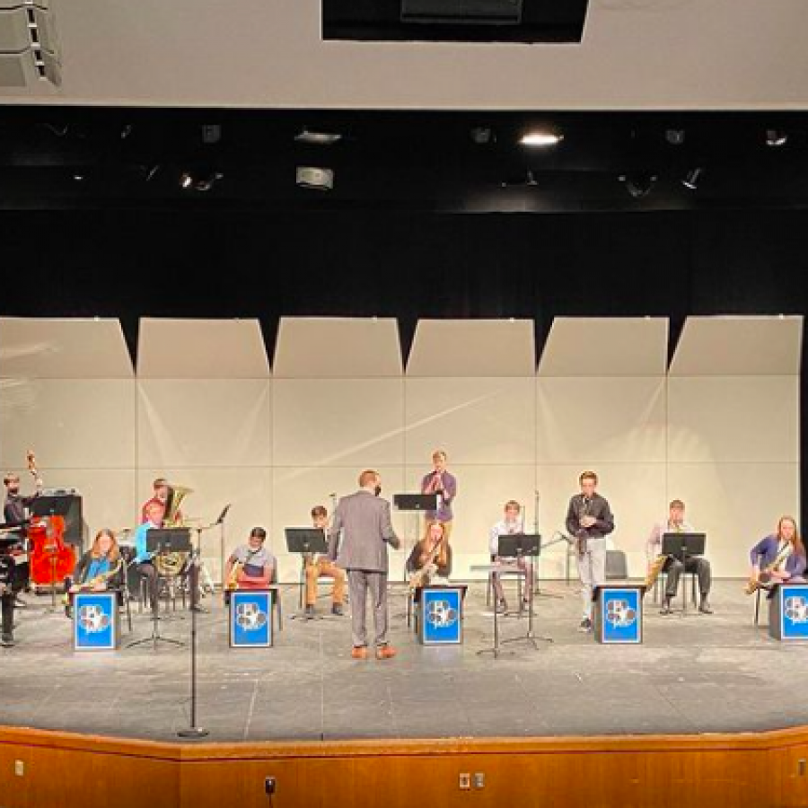 The PV Spartan combined jazz band performing their first concert of the year on Nov. 16, 2020 in the auditorium.