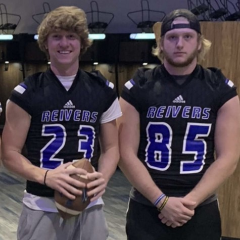 Pleasant Valley football players Kellen Hornbuckle and Matt Mickle on a visit at Iowa Western