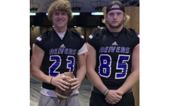 Pleasant Valley football players Kellen Hornbuckle and Matt Mickle on a visit at Iowa Western