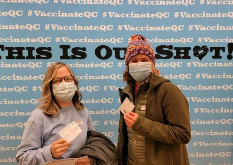 Pleasant Valley teachers Aimee Peters and Alexandria Medenciy after receiving their first dose of the COVID-19 vaccine on Feb. 5. PV anticipates to vaccinate the 89 percent of interested teachers with their first dose before returning to 100 percent in-person school.
