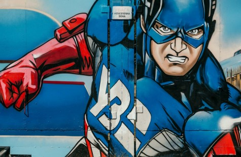 The strong and intense nature of superhero, Captain America painted on a wall.