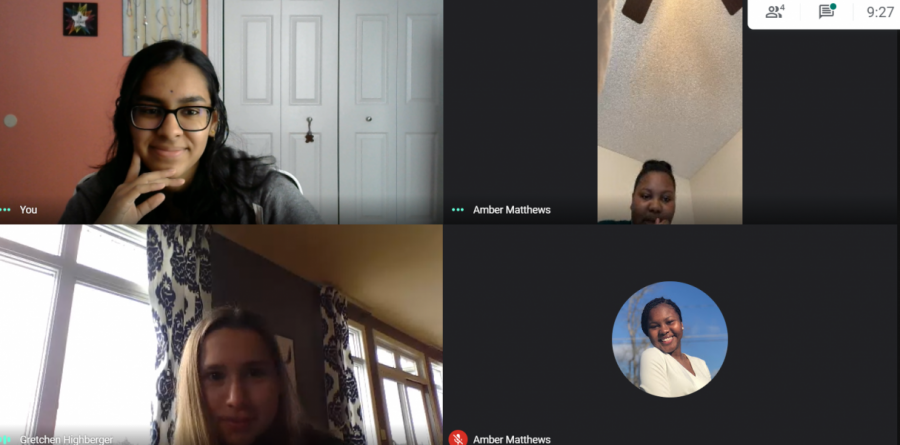 Spartan Assembly's online committee meets on a Saturday morning to discuss their upcoming game night and adjustments to the virtual pen pal program.