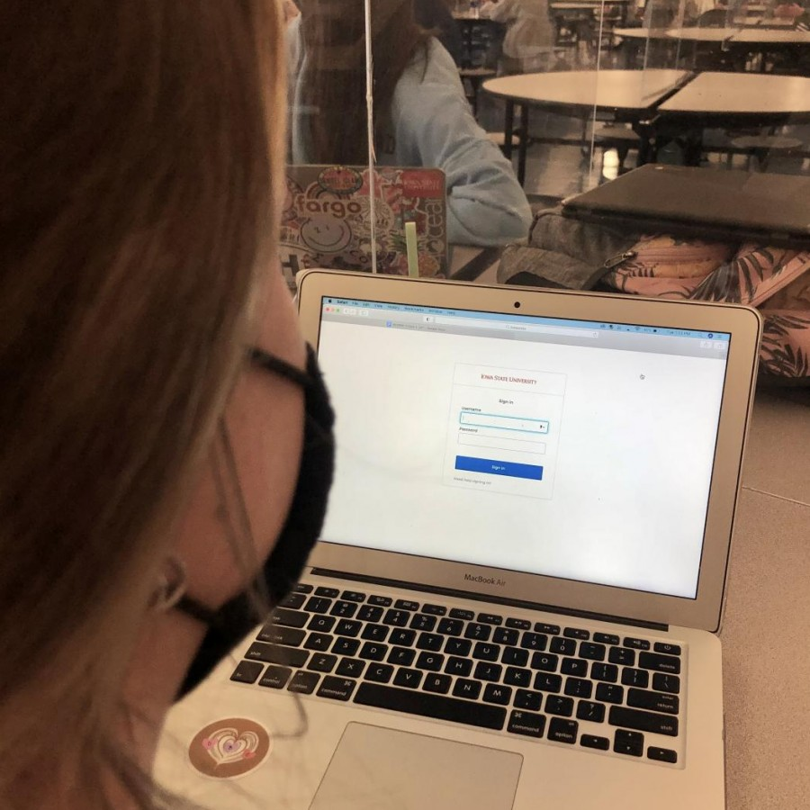 Senior Kat Goumas logs into her Iowa State portal as she reaches her decision for next year.