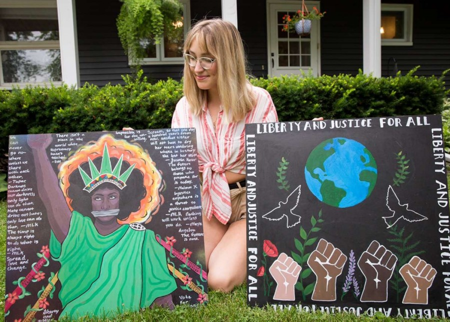 Lola Johannsen, PV senior, shows off two products of a talent she will continue to pursue.