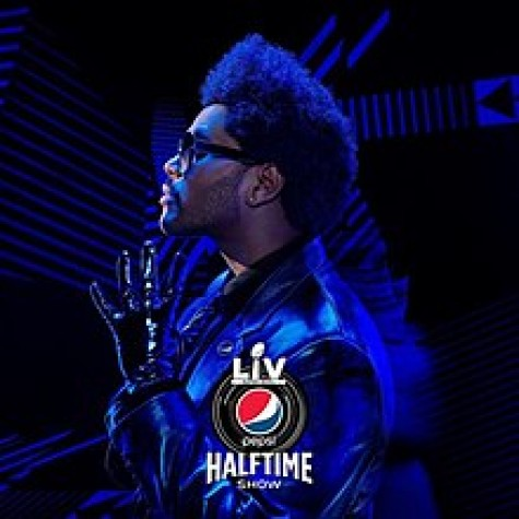 Advertisement for the Super Bowl LV and The Weeknd's show during halftime. The artist poses in a costume to promote his performance.