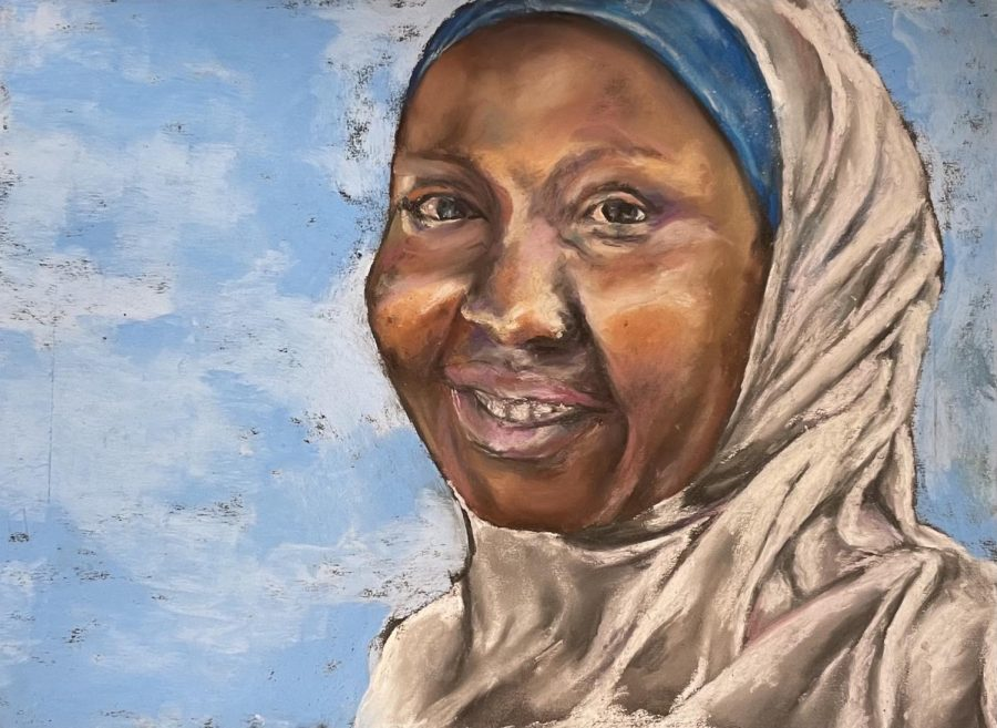 A pastel drawing Brown drew at age 14. She utilized a picture taken in Africa to inspire this piece.