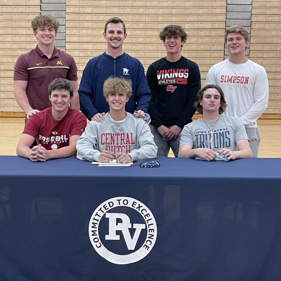 Derek Stecklein with PV baseball's committed seniors to play collegiate level baseball.