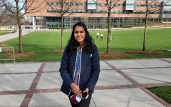 Ramya Subramaniam stands in front of the Clough Undergraduate Learning Commons at the Georgia Institute of Technology. She and fellow senior Owen Jones will be participating in Georgia Tech's Grand Challenges Living and Learning Community.