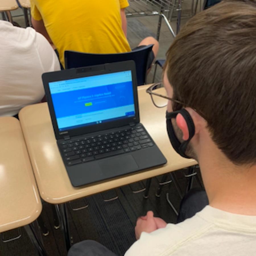 Nathan Lokenvitz, a PV senior, student studies for his AP test through the AP classroom.