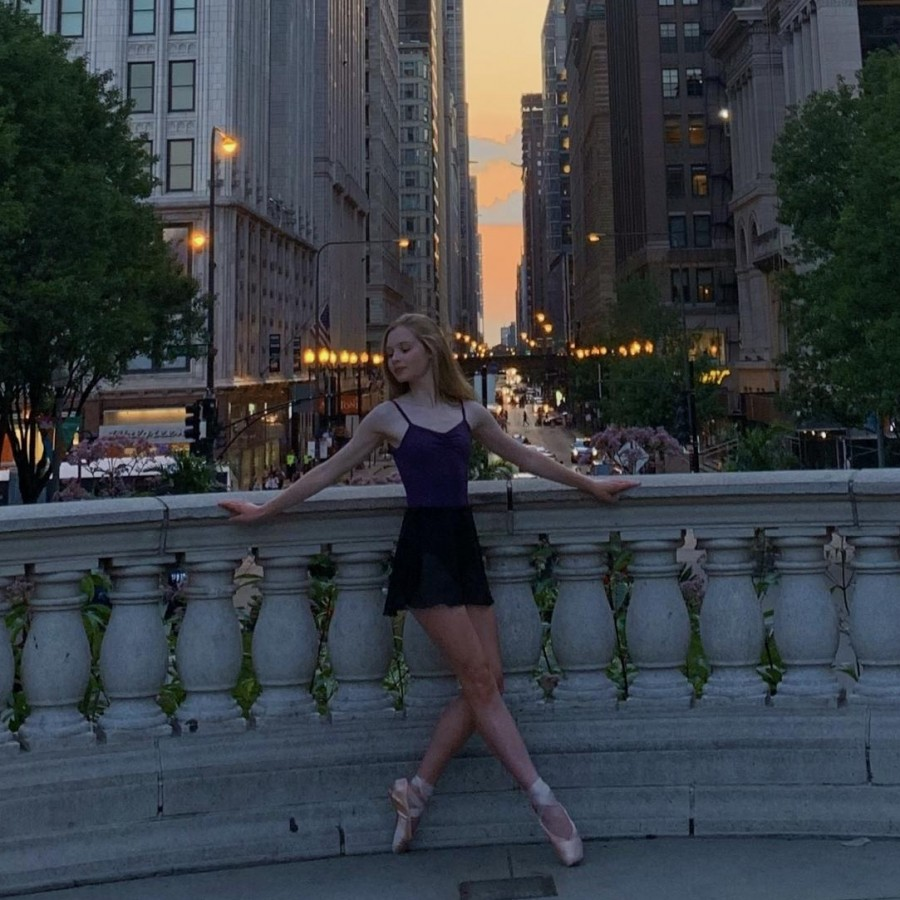 Sarah McVey poses in Millenium Park on a night off during the Joffrey Summer Intensive.