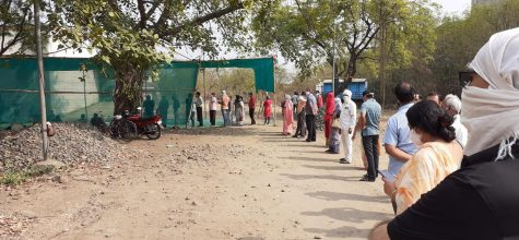 Indians wait in a long line at a vaccination site in Nagpur, India. Citizens are desperate to receive their doses of Covishield as the second wave of the pandemic consumes the country.