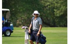 Senior Jack Dumas in his natural habitat, on the golf course, shooting birdies.