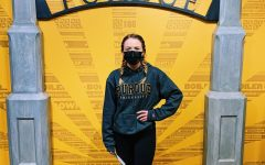 Senior, Anna Thorne visits Purdue University while still being required to wear a mask on campus.