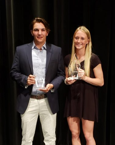 Jack Dumas and Emily Wood at the Senior Athletic Awards Ceremony with their awards