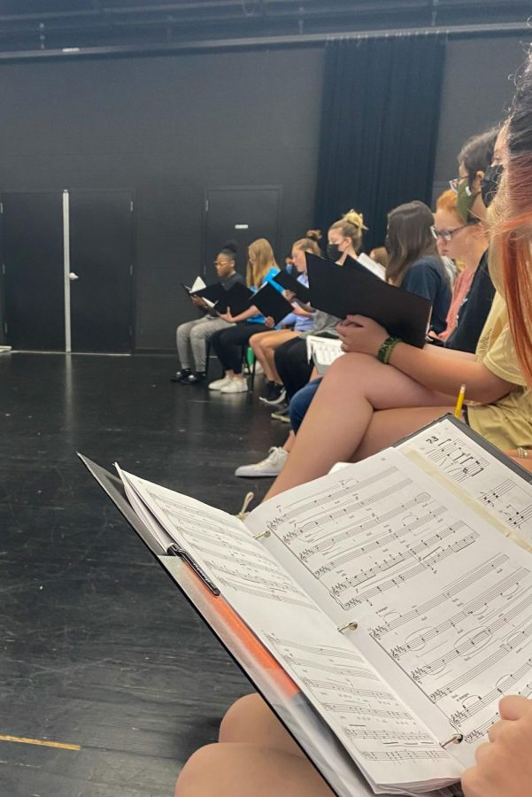 Students in Chamber Choir rehearse for return to normal events in sectionals.