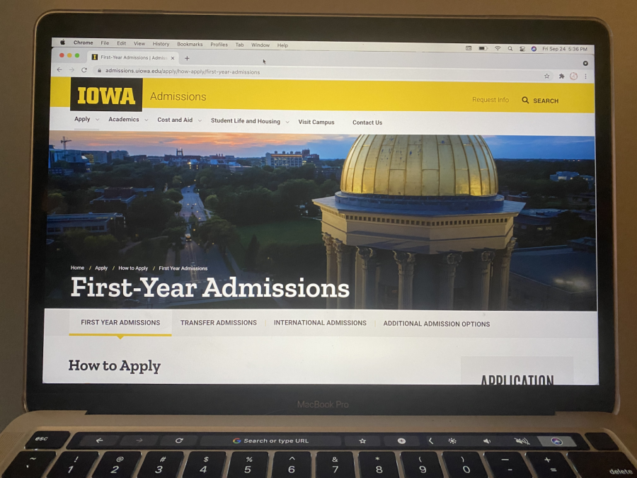 Students wishing to be admitted without an ACT/SAT score can do so on the University of Iowa's website, shown on this laptop.