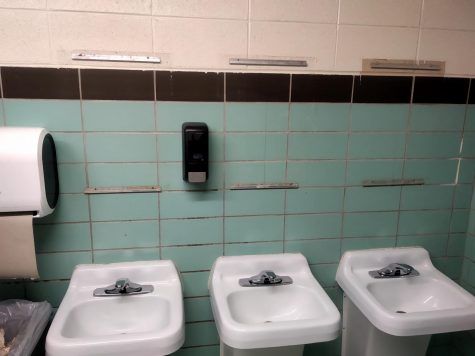 Mirrors are still missing in an upstairs mens bathroom at Pleasant Valley High School.