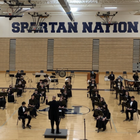Socially distanced concert seating was one of many changes students faced in the 2020-2021 school year.