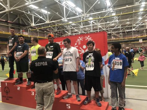 PV athlete Ben Babcock places 5th in the 50 meter dash at the 2019 Special Olympics state track meet.