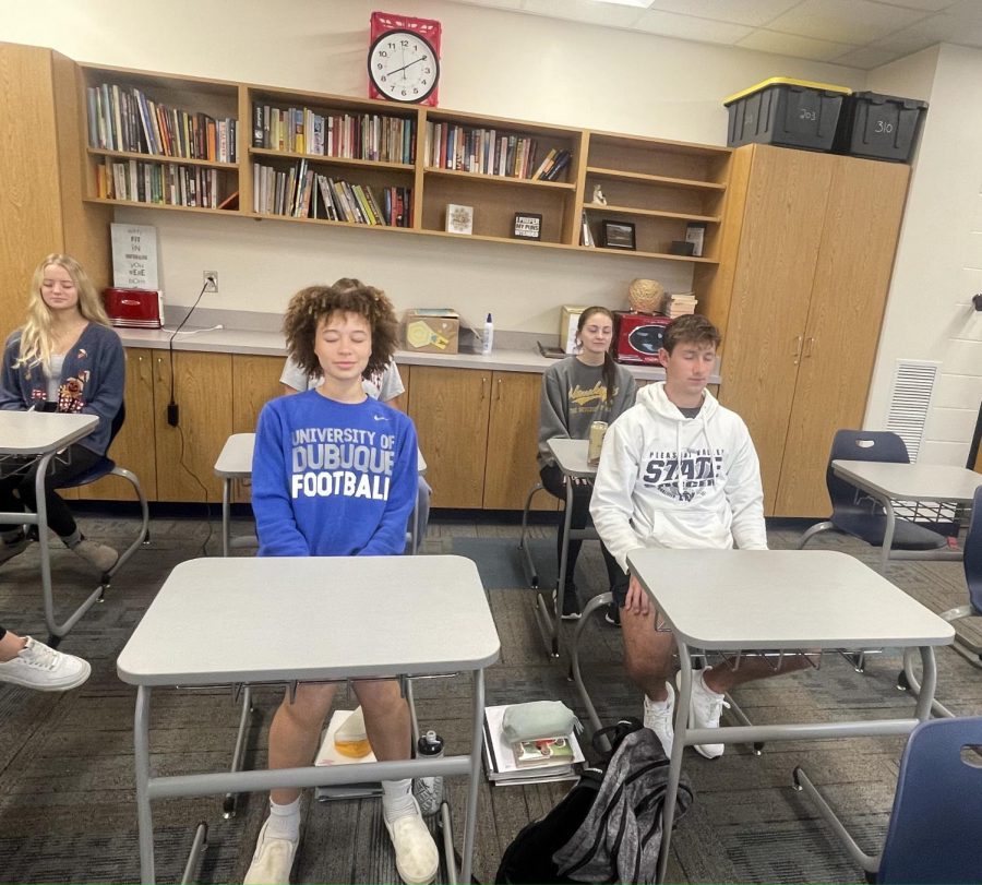 Students participate in daily meditation in Mrs. Berger's class on Friday, October 8, 2021.