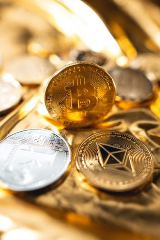 Pictured above are several forms of cryptocurrency, in physical stature.
