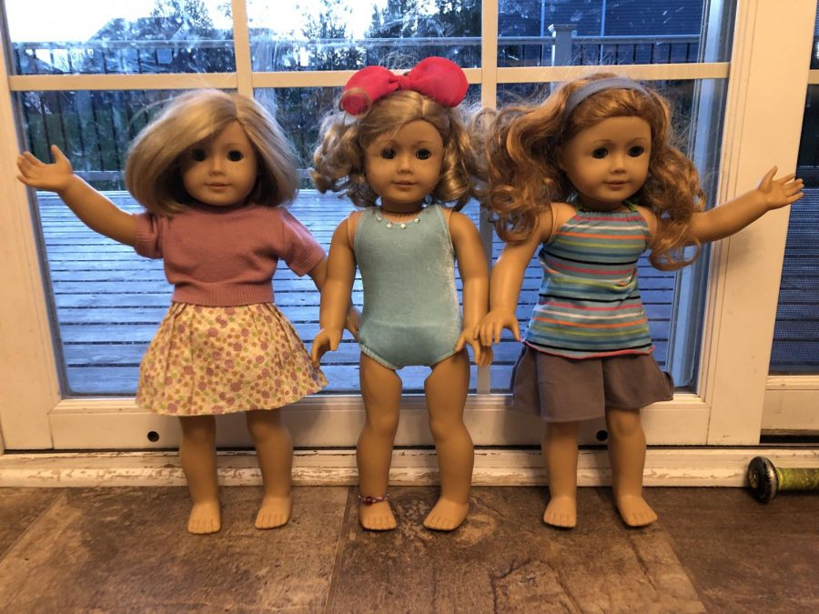 American Girl dolls from 2014 featuring two custom dolls.