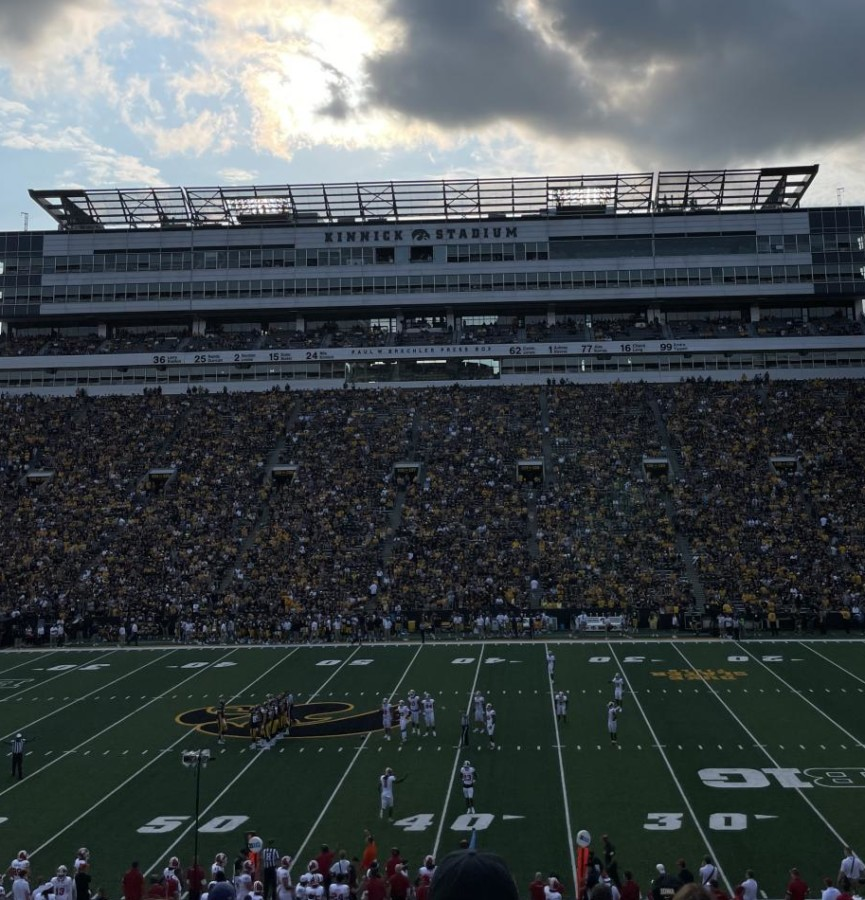Pictured above, Iowa fans cheer on the Hawkeyes at Kinnick Stadium.