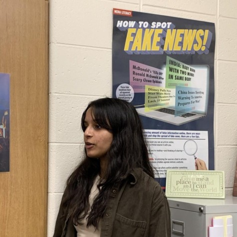 Senior and Editor-in-Chief of the Spartan Shield print publication Allisa Pandit informs students on the importance of authentic journalism, a virtue of Andrew Callaghan and Channel 5 News.