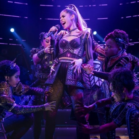 """Samantha Pauly (center) performs as Henry VIII's fifth wife Katherine Howard in Broadway's production of """"SIX."""""""
