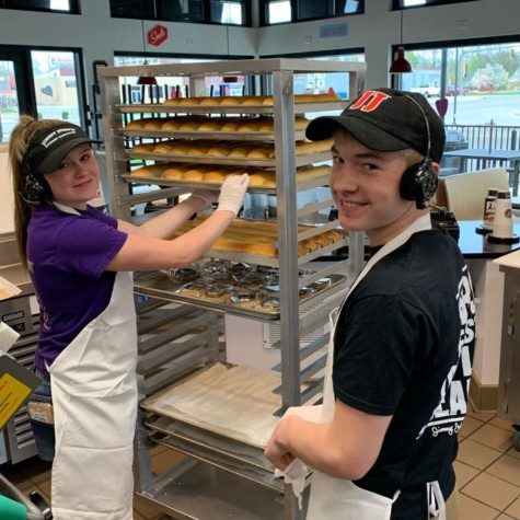 Senior Jahni Harn (left) works with her coworker (right) at Jimmy John's.